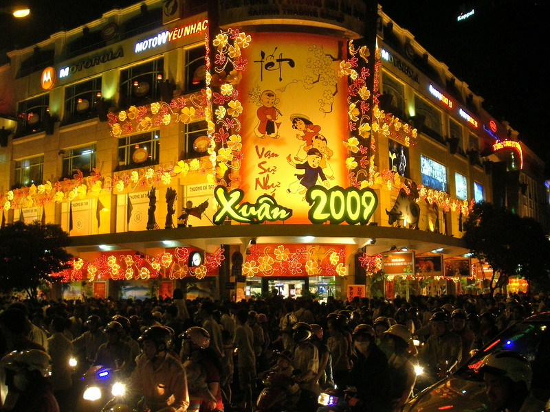 Lunar New yea/TET celebration in Saigon.. Millions fo people partying  in the streets