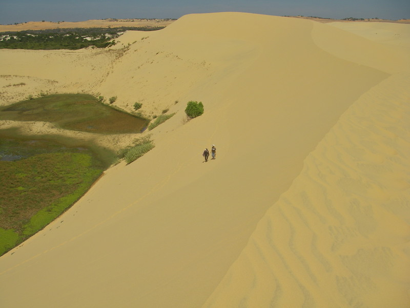 Windswept  sand dunes near a lake at Mui Ne Vietnam.