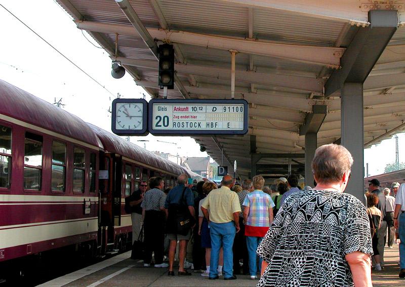 Train Station in Rostock, Germany as we board it for Berlin.