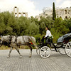 You can enjoy a horse drawn carriage around the Acropolis in the streets below. This one was taken at Areopaguito Dionisiou Street.