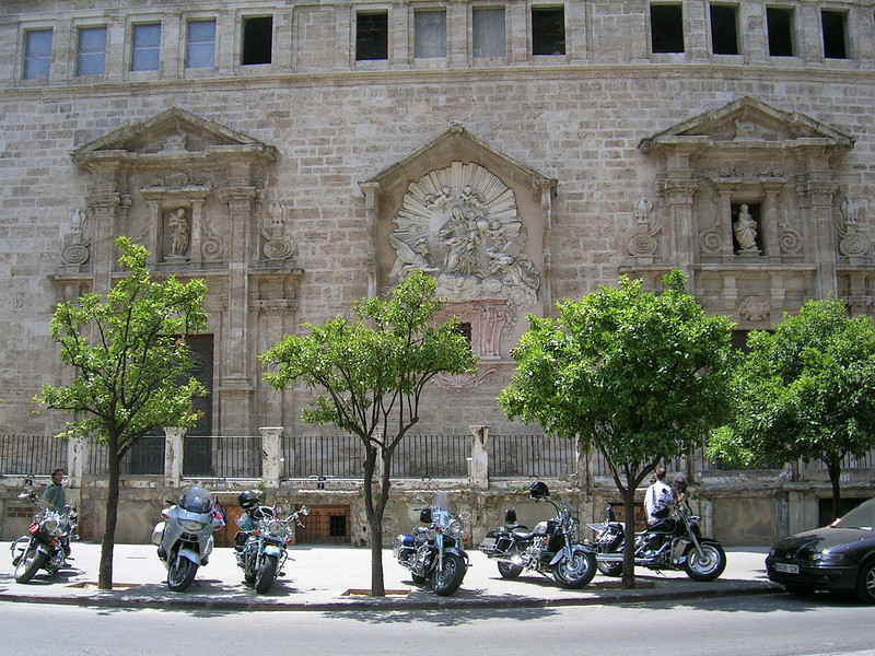 Motorcycles outside a church, Valencia