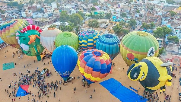 Hot air balloons ready to take off at the Pushkar Camel Fair
