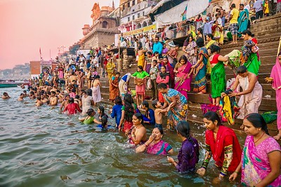 Hindu pilgrims bathing in the Ganges River