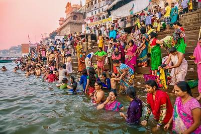 Hindu pilgrims bathing in the Ganges River