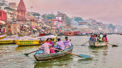 Rowing along the Ganges River