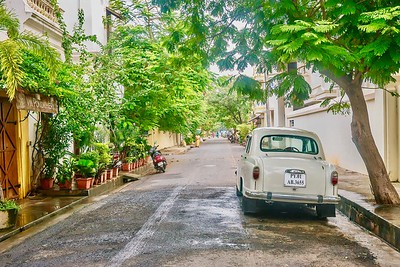 European elegance in the former French colony of Pondicherry, Tamil Nadu. And an Ambassador!