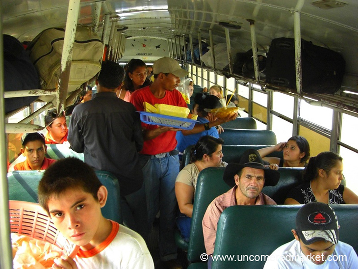 Chicken Bus Vendors - Copan, Honduras