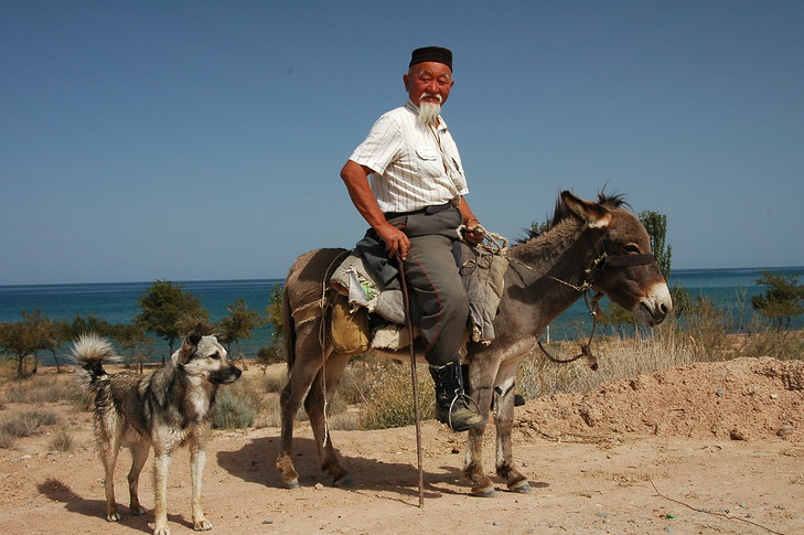 Kyrgyz Man, Donkey and Dog - Lake Issyk-Kul, Kyrgyzstan