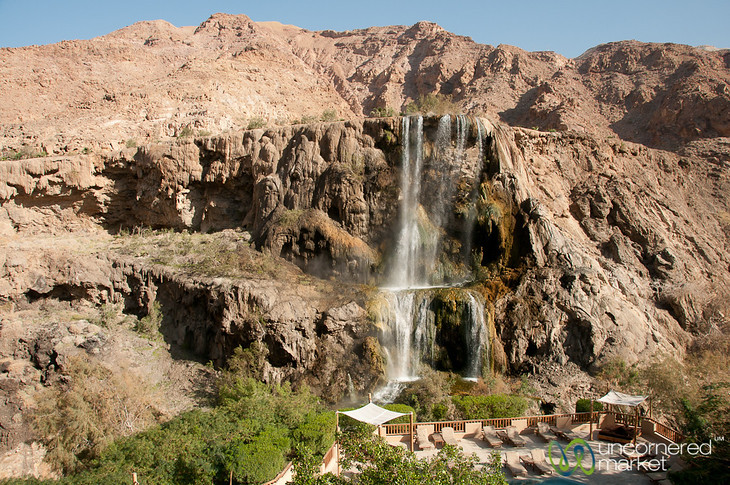 View of Hot Spring Waterfall at Ma'in, Jordan
