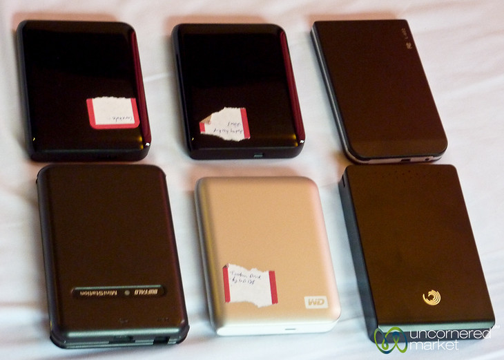 A Display of our External Hard Drives