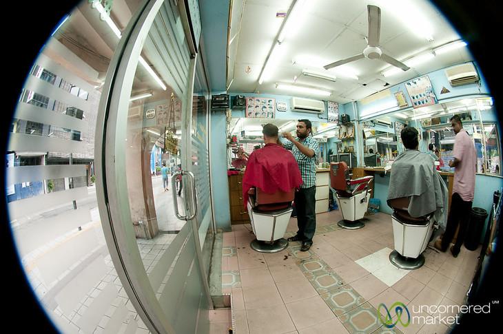 At the Indian Barber in Kuala Lumpur, Malaysia