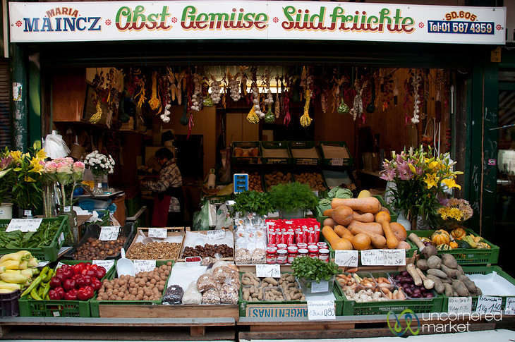Vegetable Stand at Naschmarkt in Vienna, Austria