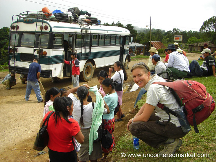 Passengers Waiting for the Bus Repair - Marcala, Honduras