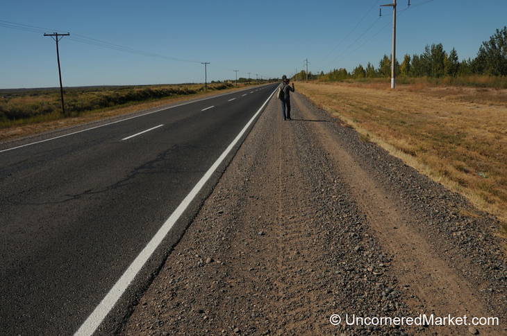 Audrey Hitchhiking Between Wineries in Patagonia, Argentina