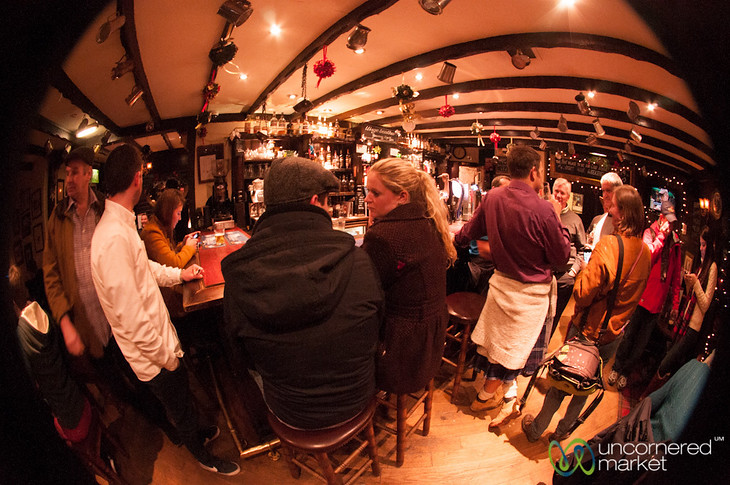 Fisheye View of a Scottish Pub - Edinburgh, Scotland
