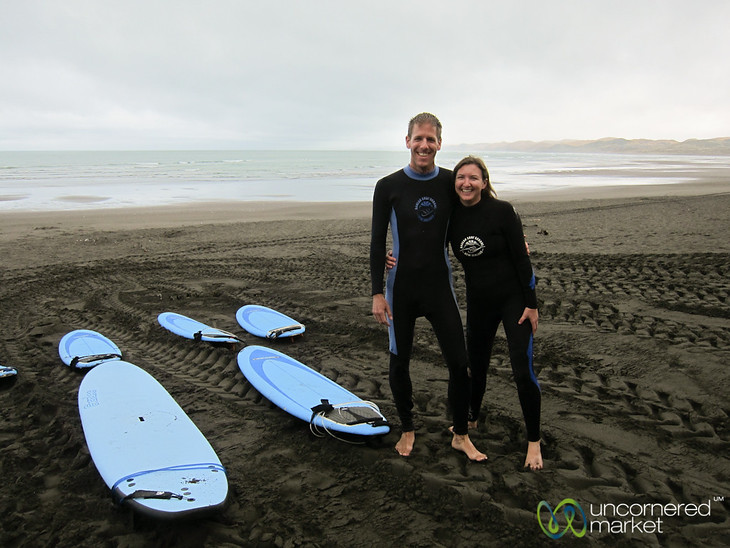 Dan & Audrey Surfing in Raglan - North Island, New Zealand