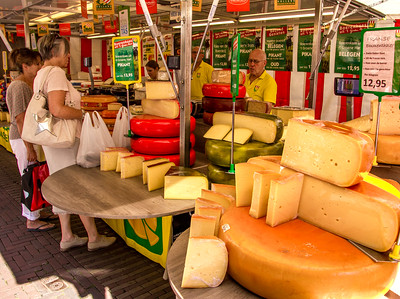 One of the many cheese stands at the market