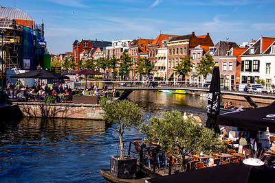 Canals & overlooking restaurants are the focus of the center of town
