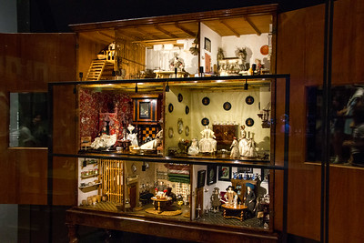 One of two large doll houses on display