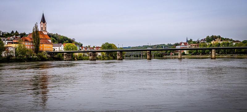 Passau harbor and bridge
