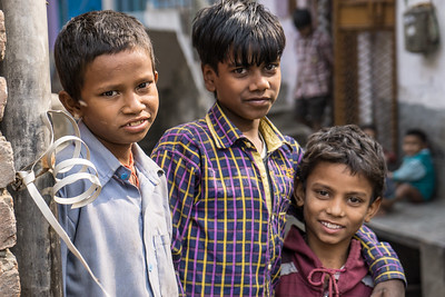 One of Hasina's sons (center), and friends.