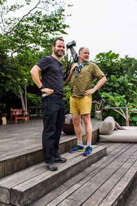 "Duncan, Feature Editor at Lonely"" Planet Traveler"", and Mark his trusted professional photographer sidekick. Wilderness Odzala Lango camp, Odzala-Kokoua National Park, Mboko Concession,  Republic of Congo"