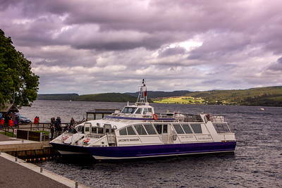 Boat on Loch Ness heading to Urguhart Castle