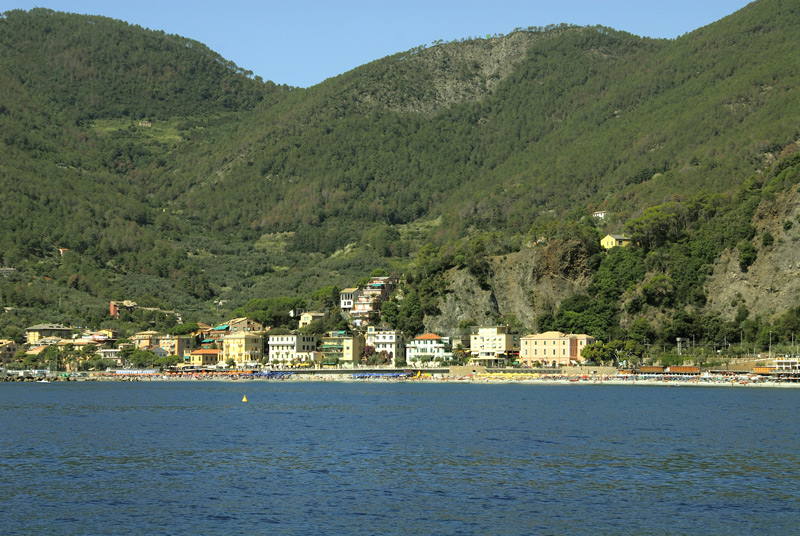 A view from our boat as we ns we get nearer Monterosso Al Mare village. Monterosso is the the northern end of Cinque Terre.