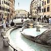 The Barcaccia Fountain looking towards the Colonna del Immacolata.