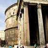 "The huge, 60 tons weighing columns used for the portico were quarried in Egypt. They were transported all the way to Rome using barges and vessels. The columns support a pediment with an inscription attributing the Pantheon to Marcus Agrippa even though it was built by Hadrian.<br /> <br /> Information taken from  http//: <a href=""http://www.aviewoncities.com/"">http://www.aviewoncities.com/</a>"
