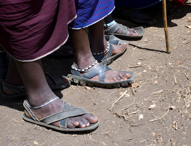 Sandals are made from hide and from old tires.