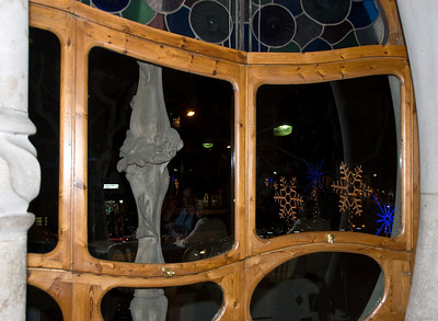 Christmas lights seen through the front window of Casa Batlló. (Dec 11, 2007, 09:14pm)