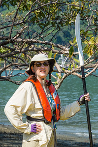 Daphne with Paddle Daphne standing with a kayak paddle before our kayak trip around the Golfito area of the Costa Rica Pacific coast.