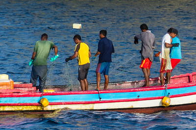 Fishing near Isla Bona These local fishermen are pulling in their net near Isla Bona in the Gulf of Panama.