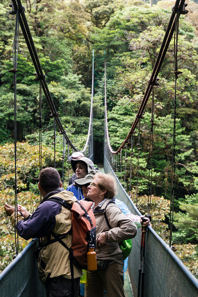 Donna and Daphne<br /> Donna and Daphne listen to the naturalist pointing out plants from a suspension bridge on the Sky Walk in the Monteverde Cloud Forest.