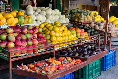 Fruits for Sale We stopped at a small market on the way from San Jose to Monteverde.  Here is a picture of a selection for fruits that were for sale.