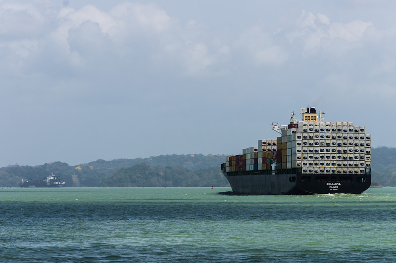 Container Ship on Lake gatun<br /> One the dozens of container ships we passed traveling across Kale gatun and through the Panama Canal.