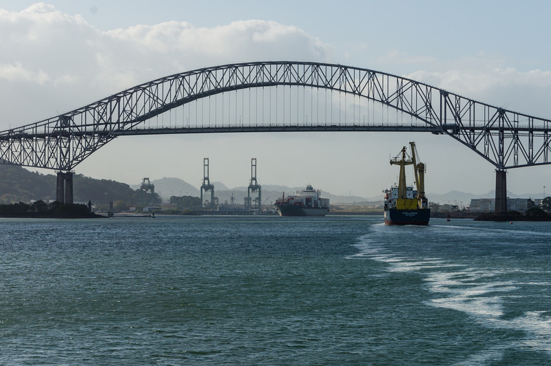 Bridge of the Americas<br /> The bridge of the Americas spans the southern (Pacific) approach to the panama Canal.  Here is a view of the bridge, seen from the south (Gulf of Panama, Pacific Ocean)