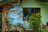 Artist Store Mural<br /> There is a local artist store in Monteverde where we stopped for souvenirs.  This is part of the tial mural on the outside of the store.