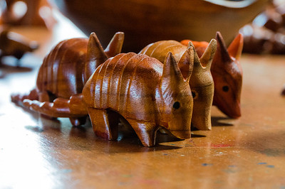 Carved Armadillos These carved armadillos were on the workbench in a local artist store in Monteverde.