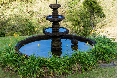 Fountain at Fonda Vela This is a fountain on the grounds of the hotel Fonda Vela, in Monteverde, where we spend two nights.  The water is reflecting the early morning sky.