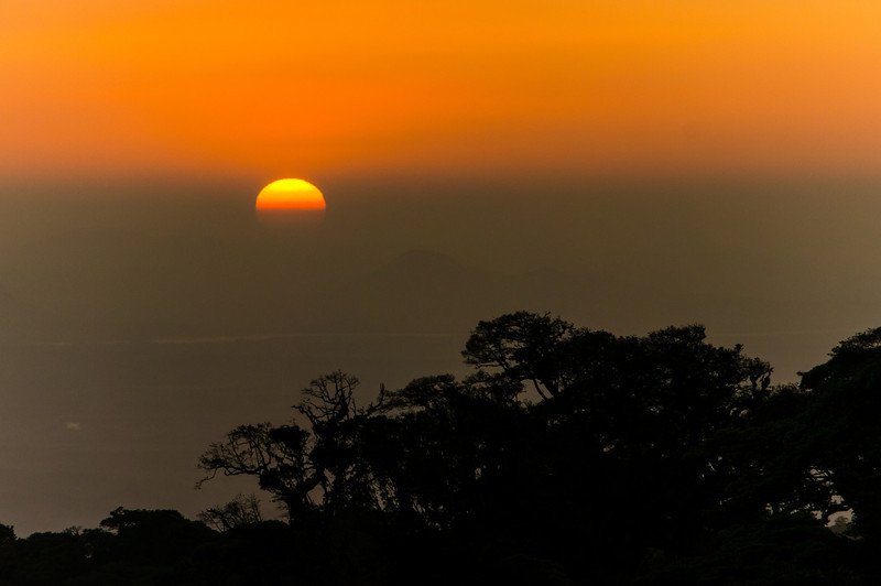 Sunset from Monteverde<br /> Sunset seen from the Hotel Fonta Vela in Monteverde.  The pacific coast of Costa Rica can barely be made out in the distance.