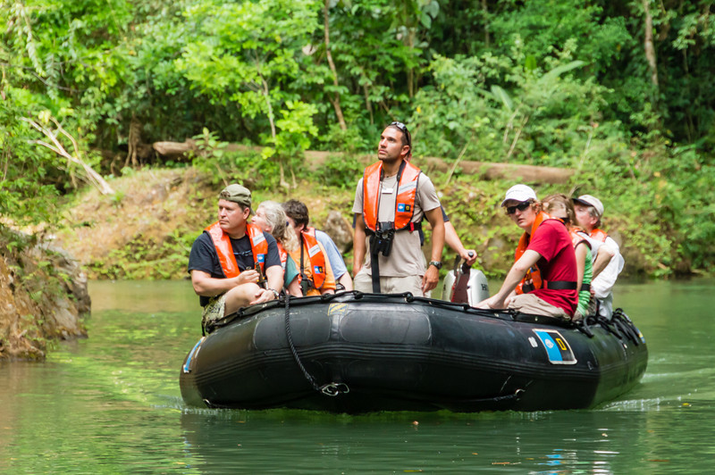 Zodiac Tour<br /> One of the Zodiacs traveling down the Agujitas River in Costa Rica, with a naturalist and guests from the National Geographic Sea Lion.
