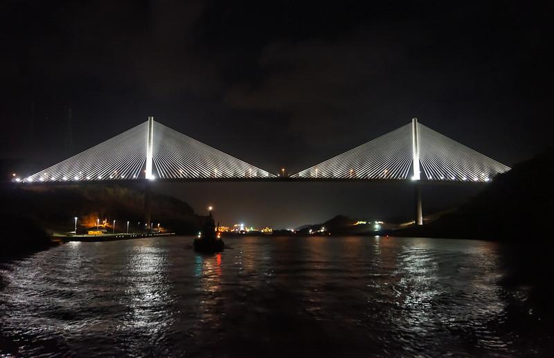Centennial Bridge at night<br /> The Centennial Bridge crosses the Panama Canal between the Perdo Miguel Locks and Lake Gatun.  We went under the Centennial Bridge at night.
