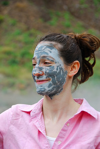 Annie with mud covered face   (Mar 21, 2006, 10:50am)  Here is Annie after having mud from the Valley of Desolation applied to her face.