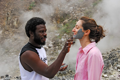 Annie gets a facial   (Mar 21, 2006, 10:47am)  While Stephanie's face is drying, Jeffrey applies mineral infused mud from the Valley of Desolation to Annie's face.