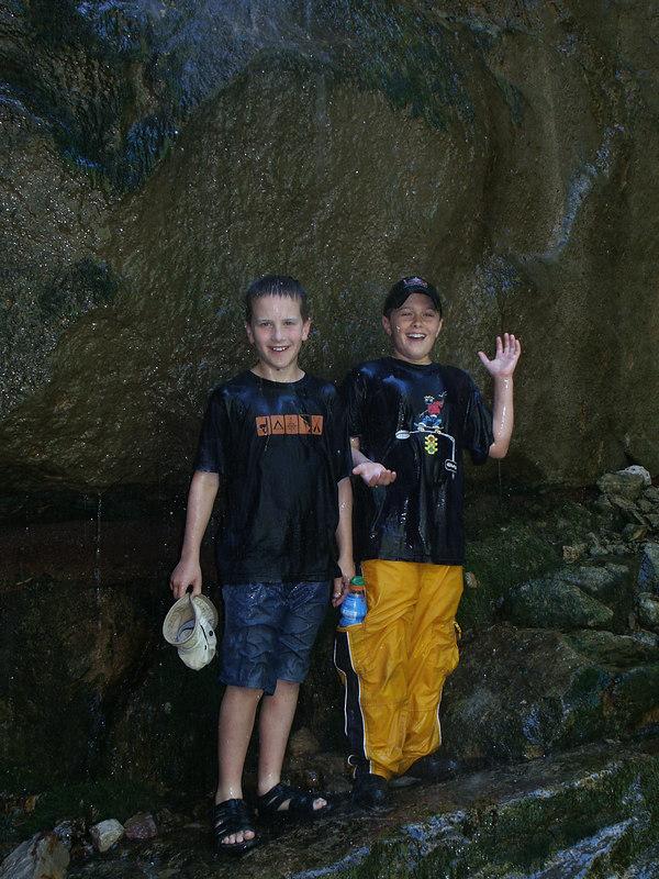 <b>Luke and Chandler under the waterfall</b>   (Jun 27, 2003, 02:54pm)