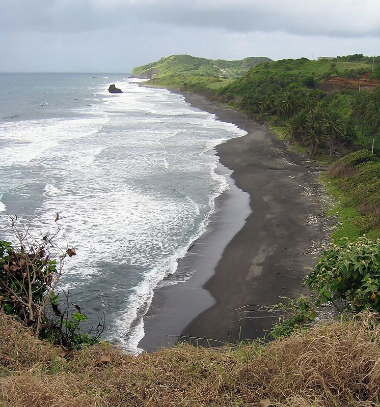 <b>Black sand beaches of windward coast</b>   (Jul 17, 2004, 09:22am)  <p align=left>On our third full day on St. Vincent, we went on a trip to hike La Soufriere, the volcano of St. Vincent.  The trailhead is a two hour drive up the windward coast (Atlantic side), past Georgetown.  The next few pictures were taken during that drive north, when the car would stop at those particularly photogenic locations.</p>  <p align=left>Notice that the beaches of St. Vincent are characterized by black volcanic sand.  Also notice the heavy surf on the windward side.  (Petit Byahaut is on the leaward side and has no surf to speak of.)</p>