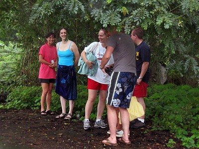 Tour group runs under a tree when rain starts   (Jul 15, 2004, 11:29am)  It was a rainy day.  When we first pulled ashore, the rain had stopped and everyone on the tour had their cameras out taking pictures.  When the rain started up again, everyone rush under the nearest tree to shelter their cameras from the rain.  I was using the small camera in its underwater case, so I never worried about the rain.