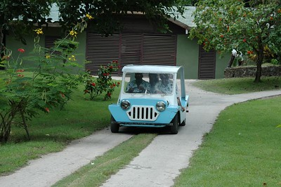 The staff uses these little cars on PSV   (Jul 23, 2004, 01:46pm)  One of the cute featurs of Petit St. Vincent are the little carts used by the staff, and shown in this photograph.  The staff uses the carts to get to the various cottages, deliver food, carry luggage, etc.  They are also happy to pick up passengers if you don't feel like walking.  You can schedule a pick-up, or as we discovered, just flag one down.
